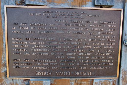 Historical Marker, Upsdie-Down House, Lee Vining, CA